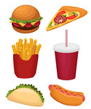 fast food set isolated on white