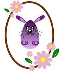 Uovo di Pasqua con coniglio viola