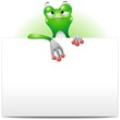 Frog Cartoon with White Panel-Rana con Pannello-Vector