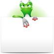 Frog Cartoon with White Panel-Rana con Pannello-Vector