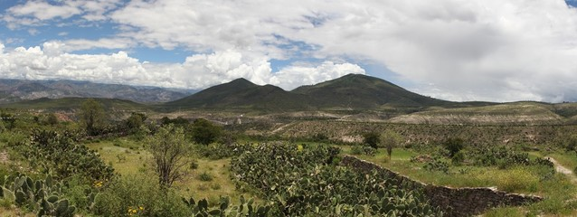 Panorama of countryside landscape in Peru.
