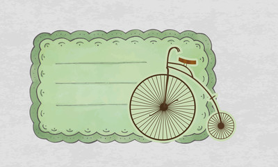 vintage business card with old bicycle