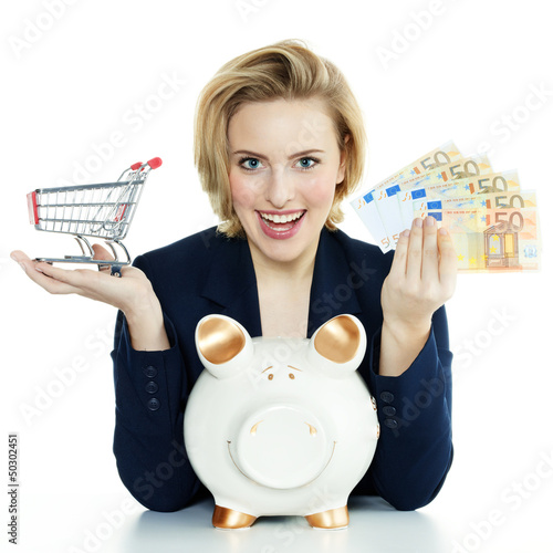 Woman is happy to save money with piggy bank for shopping