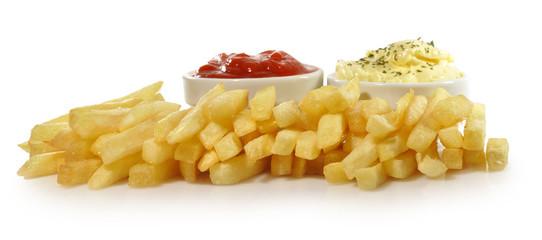 Patatas fritas,ketchup y alioli.