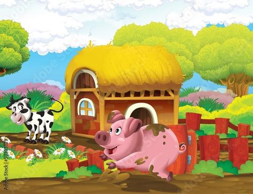 Fotobehang Boerderij The life on the farm - illustration for the children