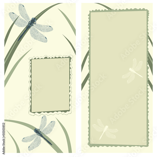 Vertical Greeting Card with Dragonflies