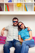 smiley couple in stereo glasses