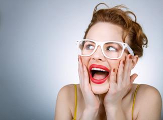 Portrait of funny facial expressive woman