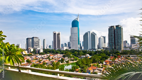 Fotobehang Indonesië Panoramic cityscape of Indonesia capital city Jakarta