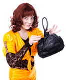 Redhead Actress clown wearing fox costume holding leather bag
