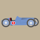 Illustration of retro racing car