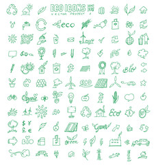 hand draw eco icons set