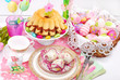 easter table decoration with ring cake and basket