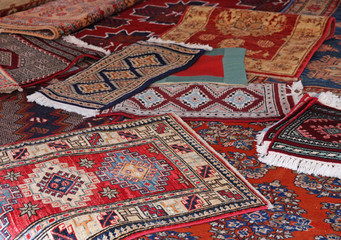 textures and background of ancient handmade carpets
