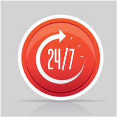 Open around the clock, 24 hours a day icon isolated