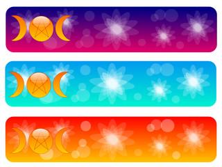 Set banners con le fasi pagane della luna