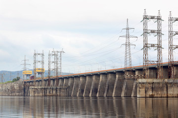 Hydroelectric power station on river