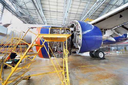 Dismantled turbine of repairing aircraft