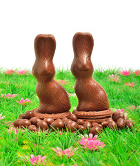 Easter chocolate bunnies on the green grass