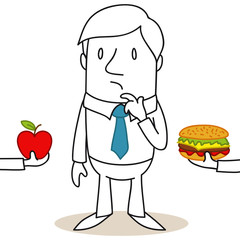 Geschäftsmann, Entscheidung, Gesunde Ernährung