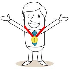 Geschäftsmann, Sieger, Medaille, erster Platz