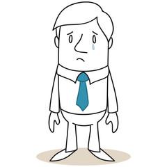 Geschäftsmann, unglücklich, Träne, traurig