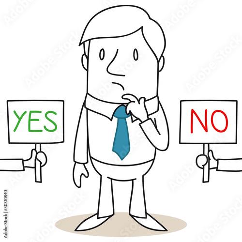 Geschäftsmann, Entscheidung, YES or NO