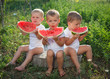 little boys eating watermelon outdoors