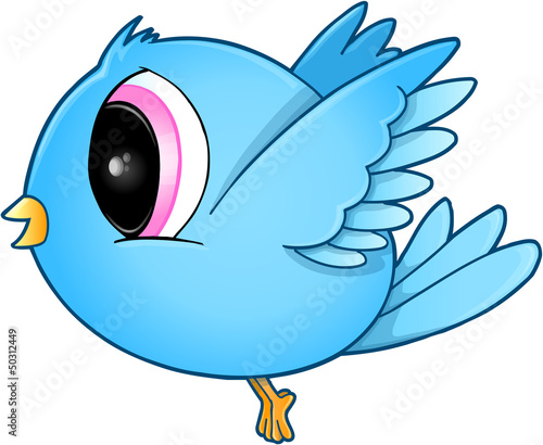 Cute Blue Bird Vector Art