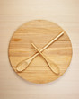 stylized clock - cutting board and wooden spoons