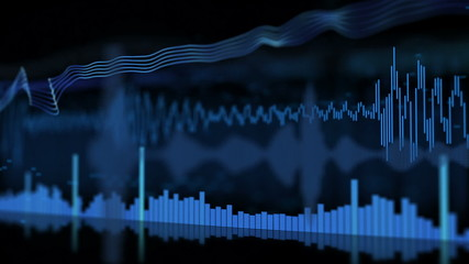 Different Audio Wave Patterns Equalizer in 3D Space Loop