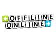 3D Offline Online Button Click Here Block Text