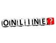 3D Online Button Click Here Block Text