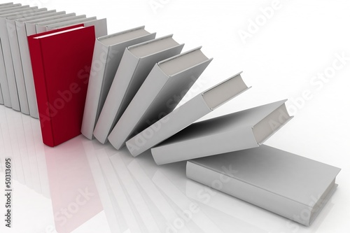 3d books on background white