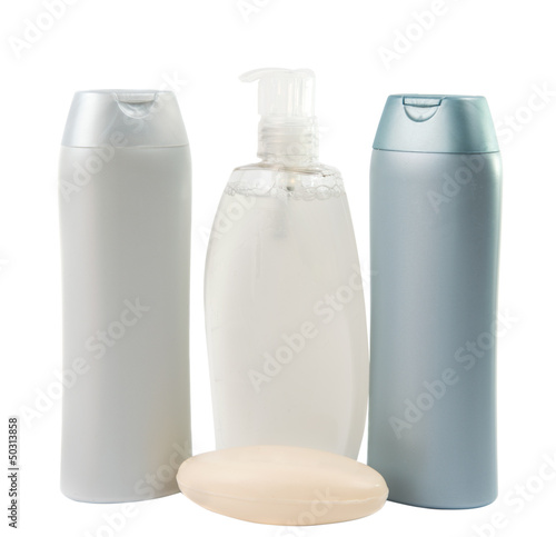 Plastic bottles of cleaning products.