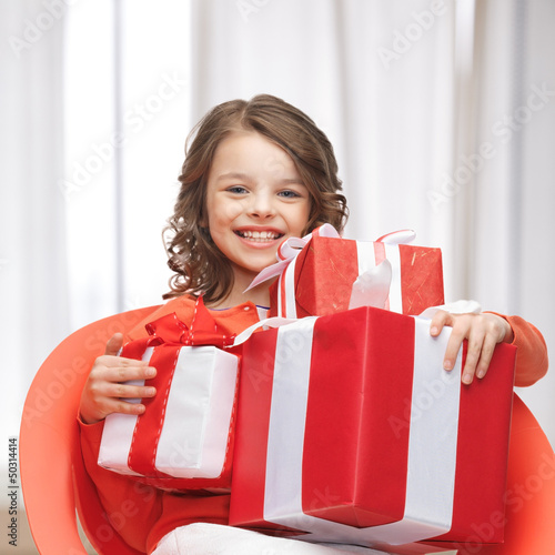 girl with gift boxes