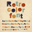 Retro color font. Vector illustration.