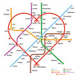 Fictional metro map in shape of heart. Vector illustration. - 50314685