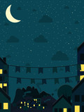 Night small town with moon. Vector illustration.