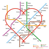 Fictional metro map in shape of heart. Vector illustration.