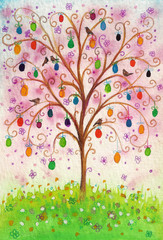 Easter flowering tree with eggs and birds growing on a field.
