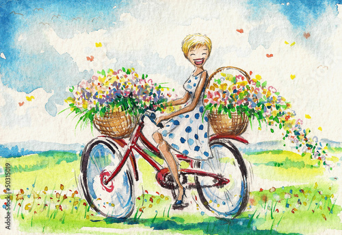 Woman on bicycle.Watercolour illustration.