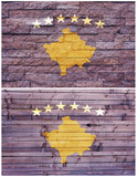 Vintage wall flag of Kosovo collage poster