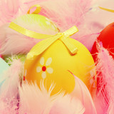 easter eggs and feathers