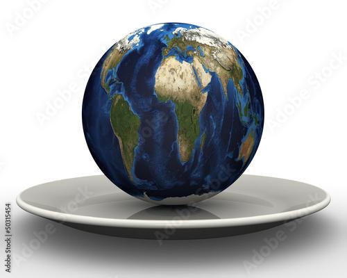 Концепция раздела земного шара. Земной шар на тарелке