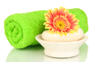 Rolled green towel, soap bar and beautiful flower isolated