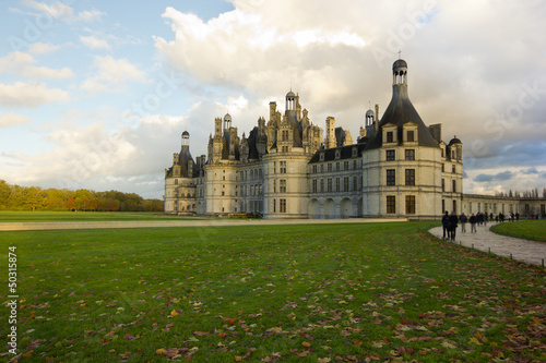 Chambord palace after rain at sunset, Loire Valley, France