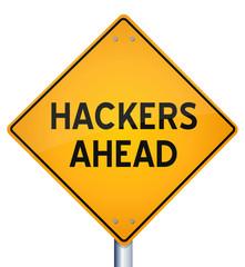 vector of warning sign of hackers ahead