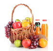 Different fruits in wicker basket with juice isolated on white