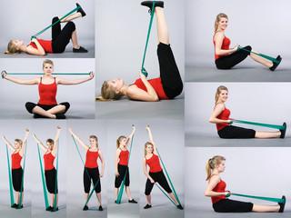 Gymnastik und Sport Collage einer Frau
